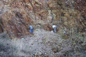 NSGold geologists taking ground samples at Dios Padre