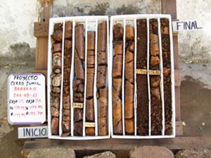 Drill core from Cerro Jumil.