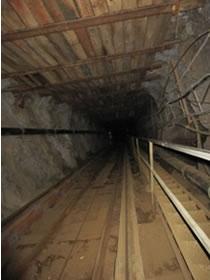 The underground decline at Strieborná