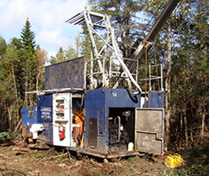 Drill rig at the Mooseland gold property