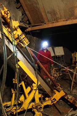 Underground drilling at Strieborná