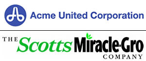Acme United Corporation and The ScottsMiracle-Gro logos